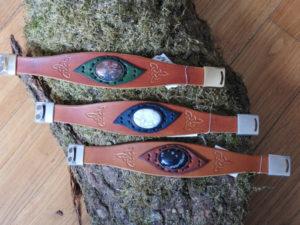 Bracelets de pierres sertis: jaspe léopard, quartz rose et obsidienne mouchetée (à partir de 36€)