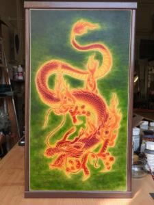 """Objet unique Tableau """"Dragon chinois"""" 140€"""